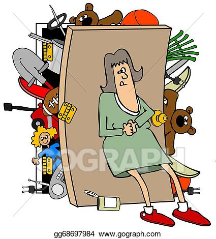 Closet clipart stock photo. Illustrations woman with a