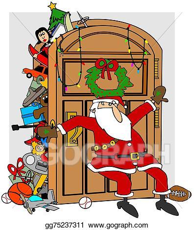 Closet clipart stock photo. Illustration santa s stuffed