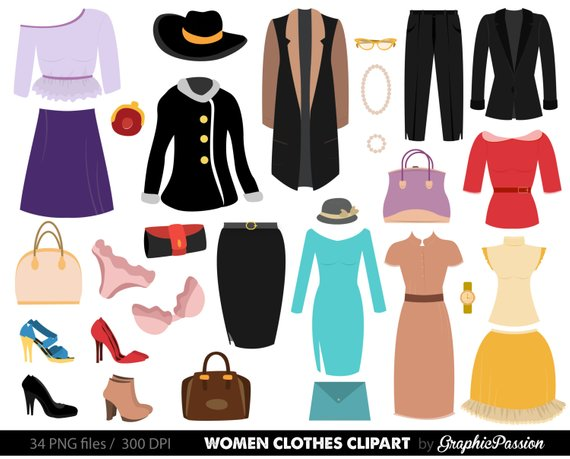 Clothes clipart. Fashion women shopping digital