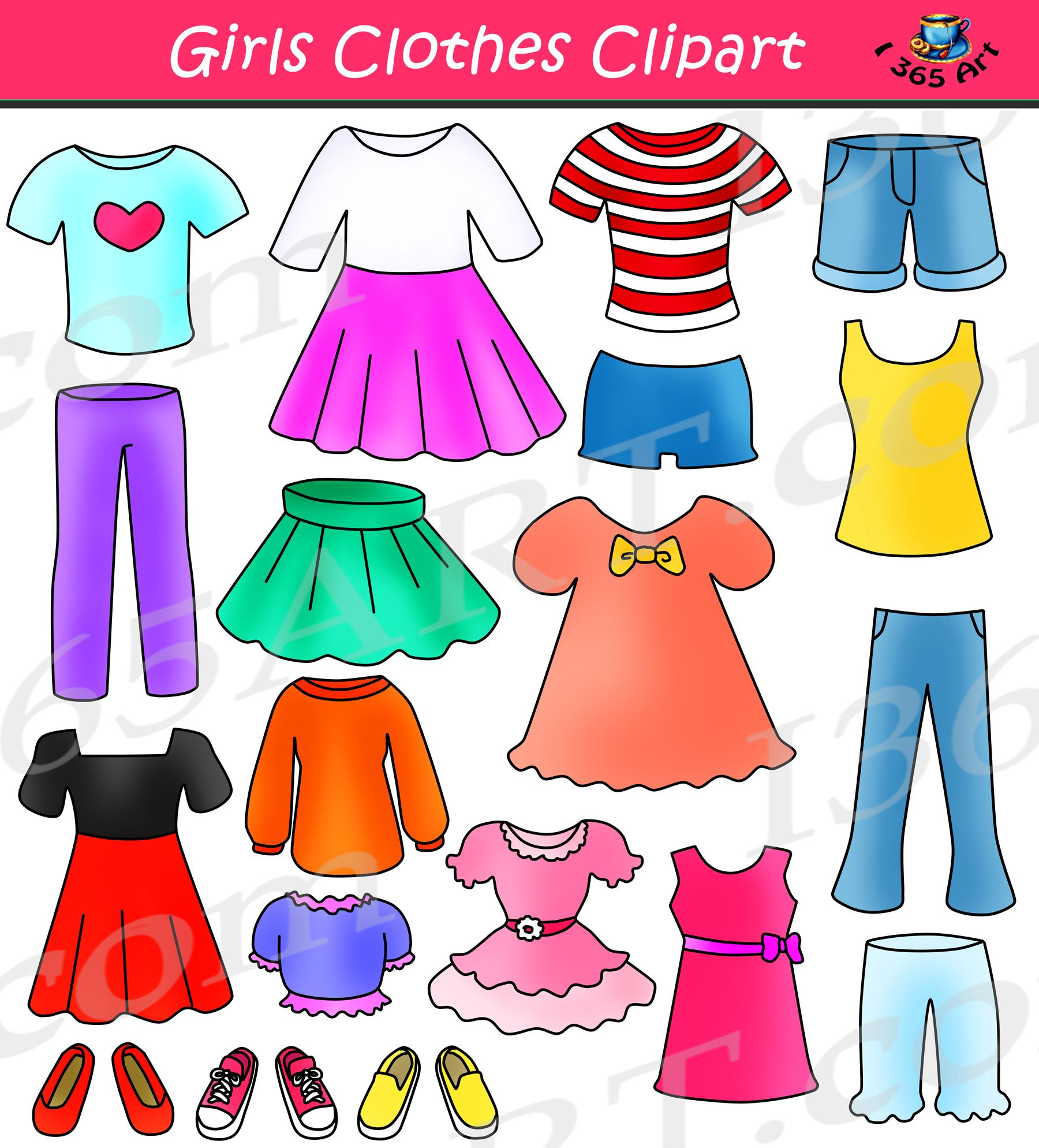 Girls set dress up. Clothes clipart