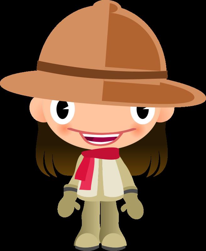 Clothes clipart hat. Talking girl in safari