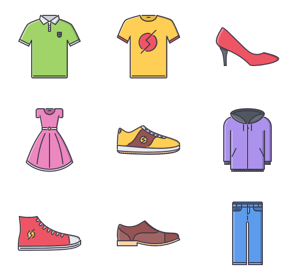 Icons free vector clothes. Jeans clipart t shirt