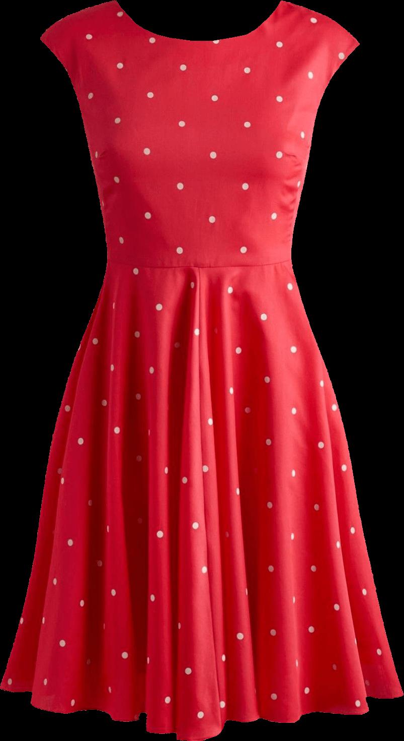 Red dots retro transparent. Dress clipart cocktail dress