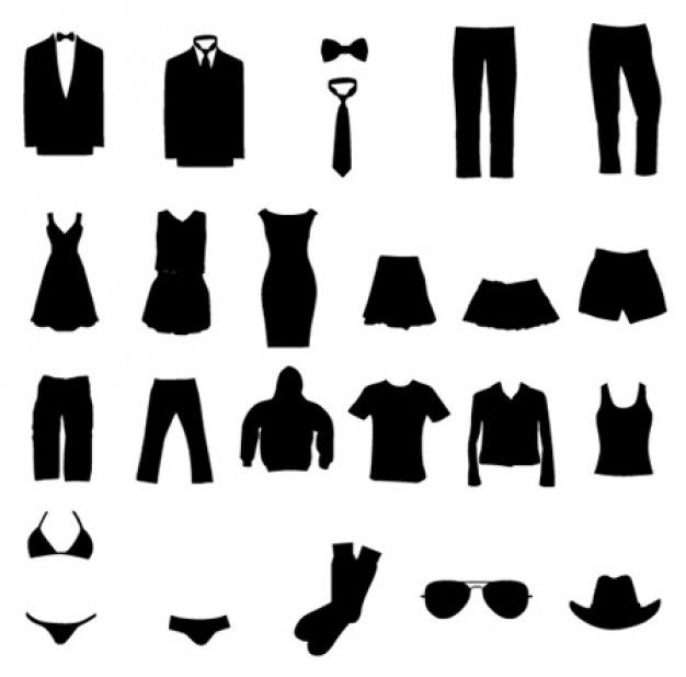 Clothing clipart silhouette. Vector graphic circut