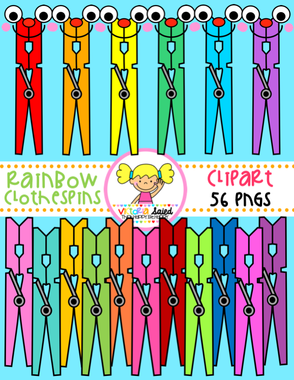 Clothespins for teachers clip. Clothespin clipart colored