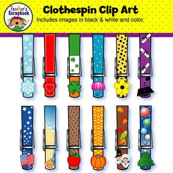 Clip art . Clothespin clipart colored