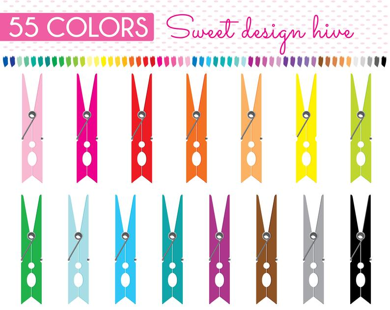 Sticker laundry chores clothes. Clothespin clipart colored