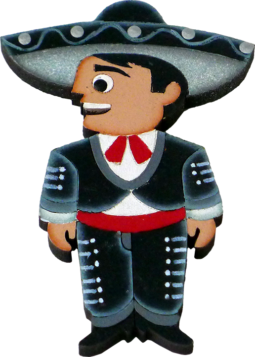 Wooden magnet magnets doll. Fiesta clipart charro days