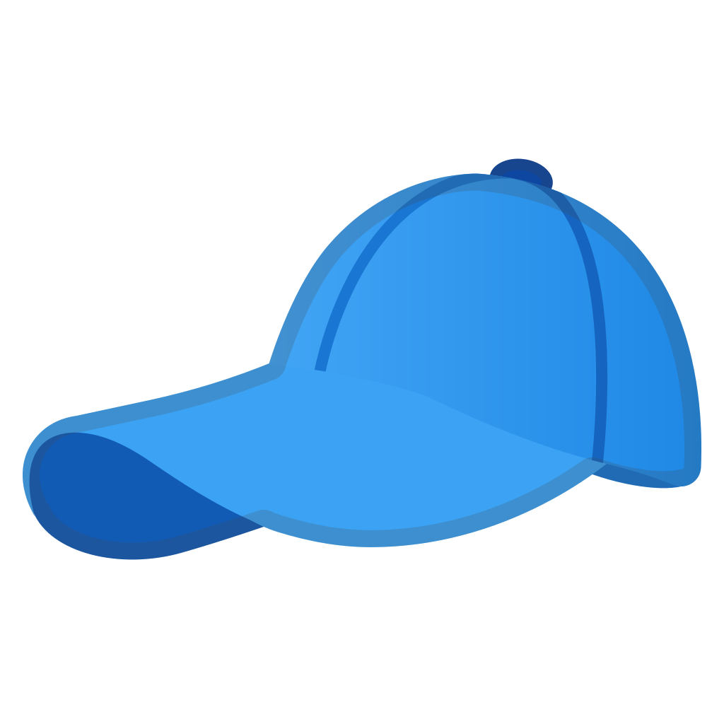 Clothing clipart blue object. Billed cap icon noto