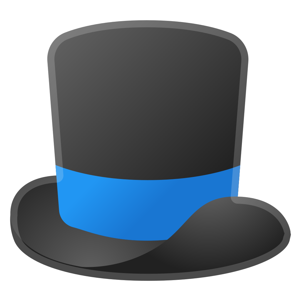 Top hat icon noto. Clothing clipart blue object