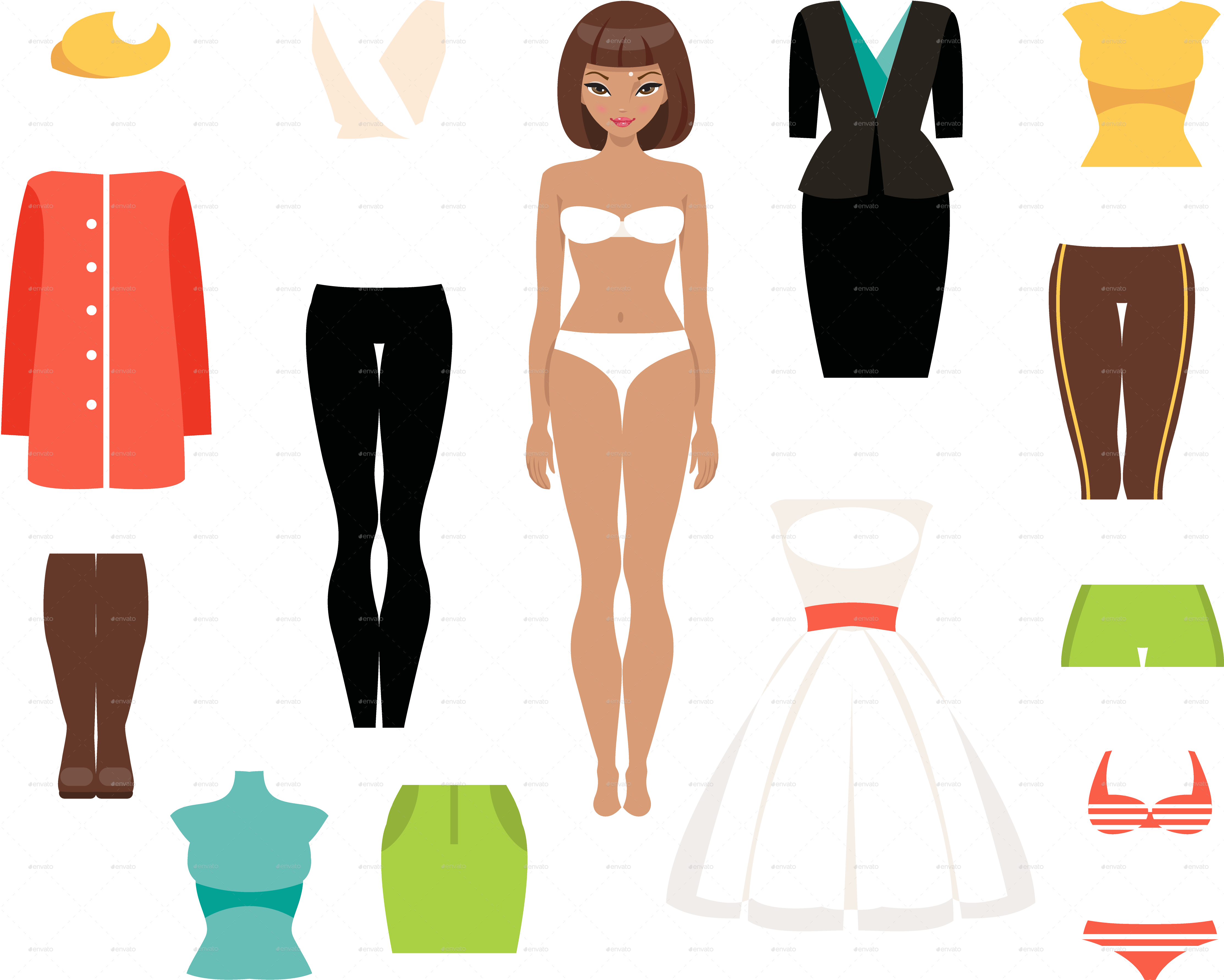 Paper doll and a. Clothing clipart clothes market