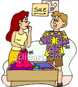 Man and woman at. Clothing clipart clothing sale