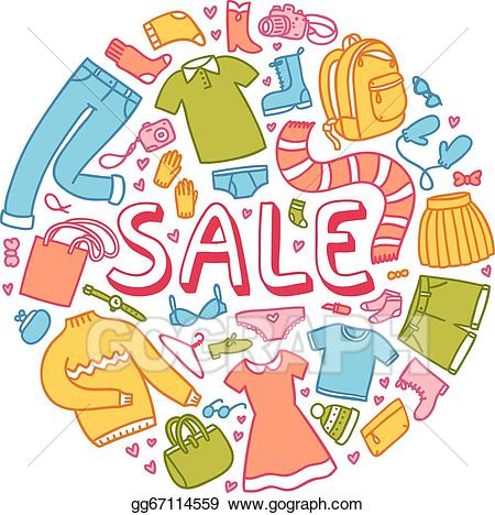 Clothing clipart clothing sale. Vector illustration with clothes