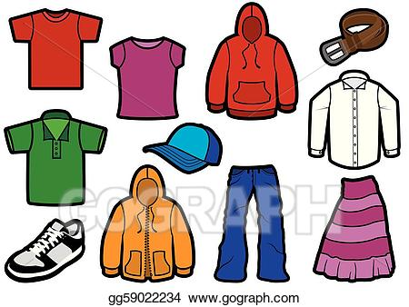 Vector illustration bold symbol. Clothing clipart colorful clothes