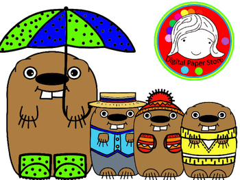 Clothing clipart cute. Groundhog in spring winter