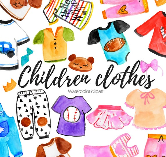 Clothing clipart cute. Watercolor childern kids fashion
