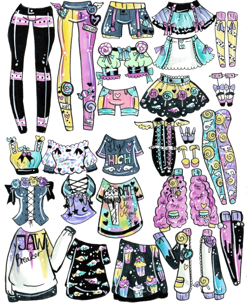 Clothing clipart mix match clothes. And outfits closed by