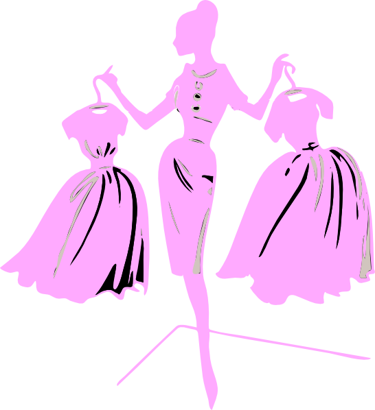 Fashion model dress clip. Costume clipart pink