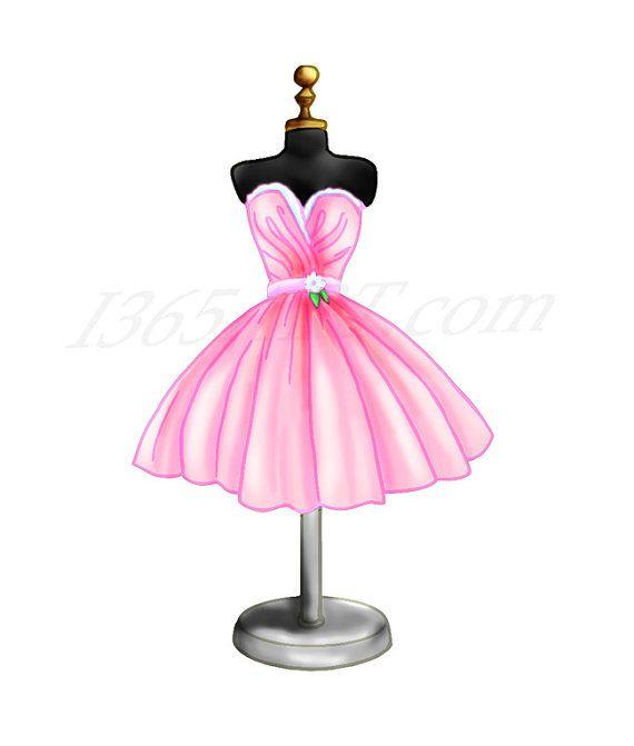 Dress clipart cocktail dress. Pink form digital illustration