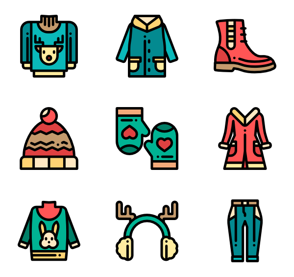 Mittens clipart cloth. Winter clothes icons free
