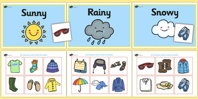 Weather clothes sorting activity. Windy clipart clothing