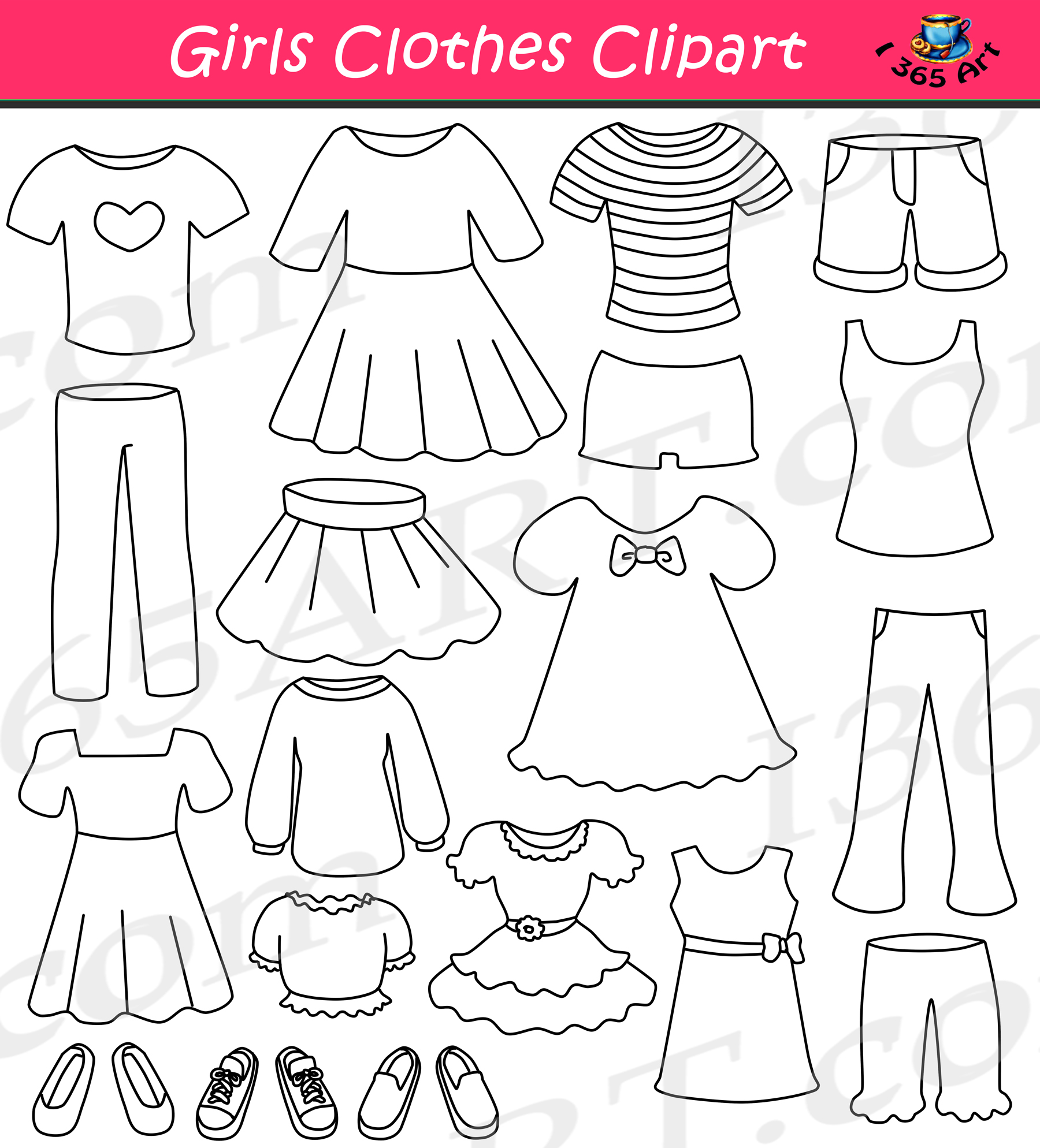 Clothing clipart used clothes. Girls set dress up