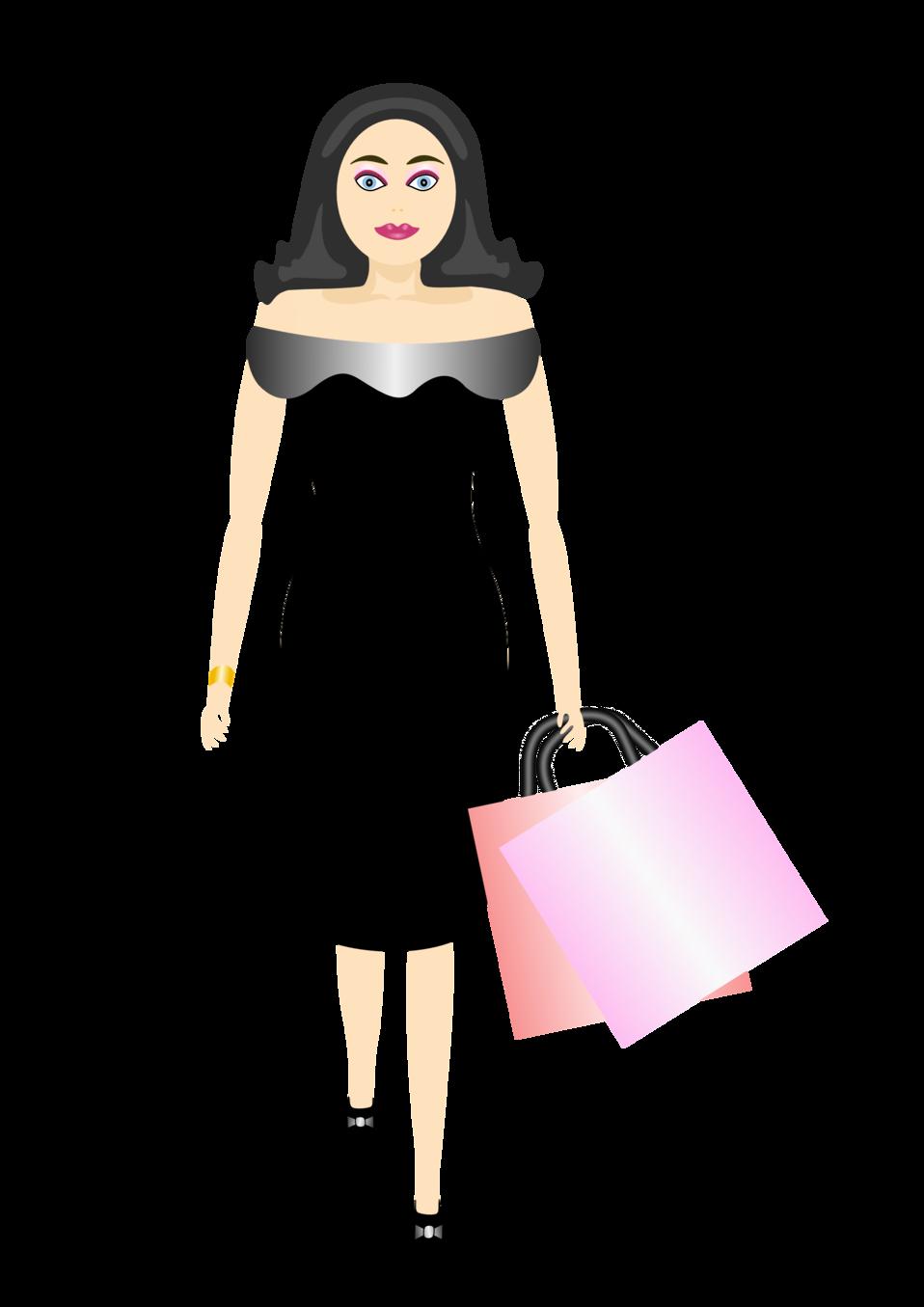 Public domain clip art. Female clipart shopping