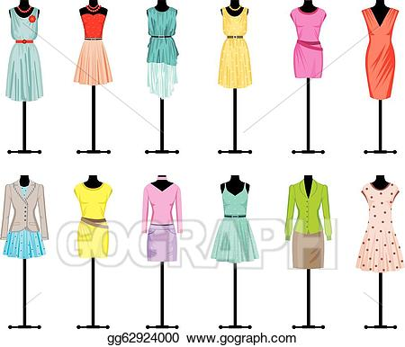 Vector art mannequins with. Clothing clipart women's clothing