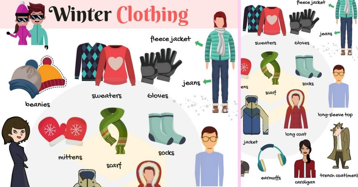 List of winter clothes. Mittens clipart season dress