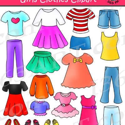 Clothing clipart. Fashion school girls clothes