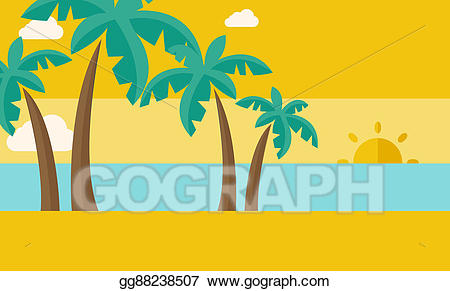 Tropical with and sunset. Cloud clipart beach