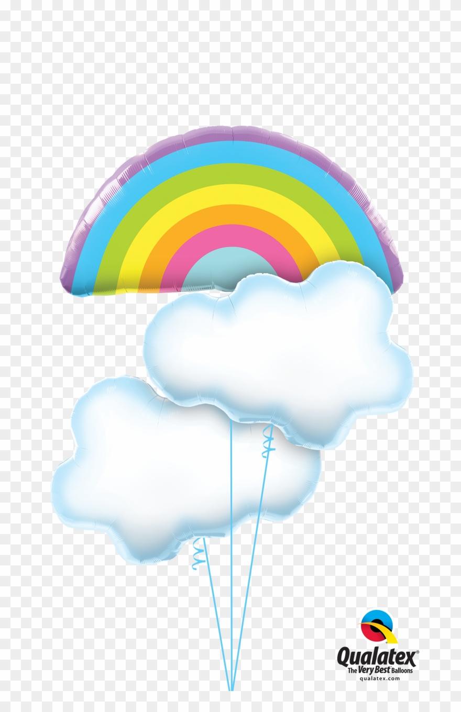 Cloud clipart bunch. Rainbow clouds balloon bouquet