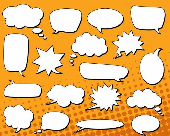 Speech bubbles clip art. Clouds clipart comic book