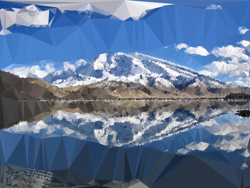 Clouds clipart mountain. Low poly chinese lake