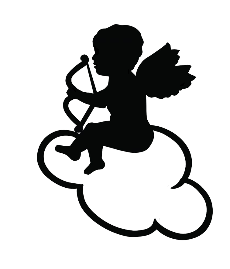 Cloud clipart silhouette. Angel silhouettes cupid on
