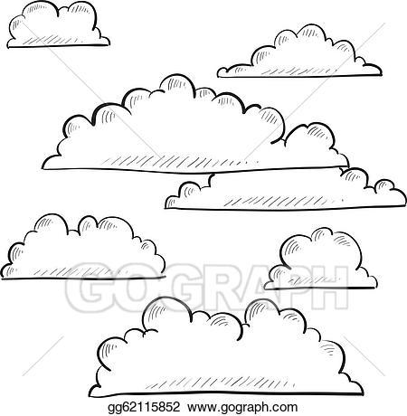 Vector illustration clouds eps. Cloud clipart sketch