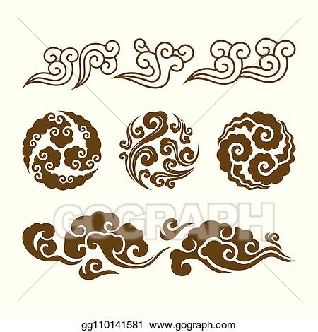 Clouds clipart swirl. Eps vector chinese asian