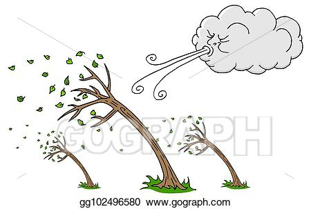 Windy clipart wind storm. Vector illustration day trees