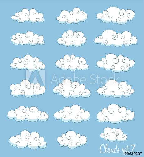 Set of cute cartoon. Clouds clipart swirl