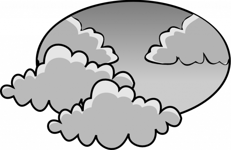 Sunny black and white. Cloudy clipart