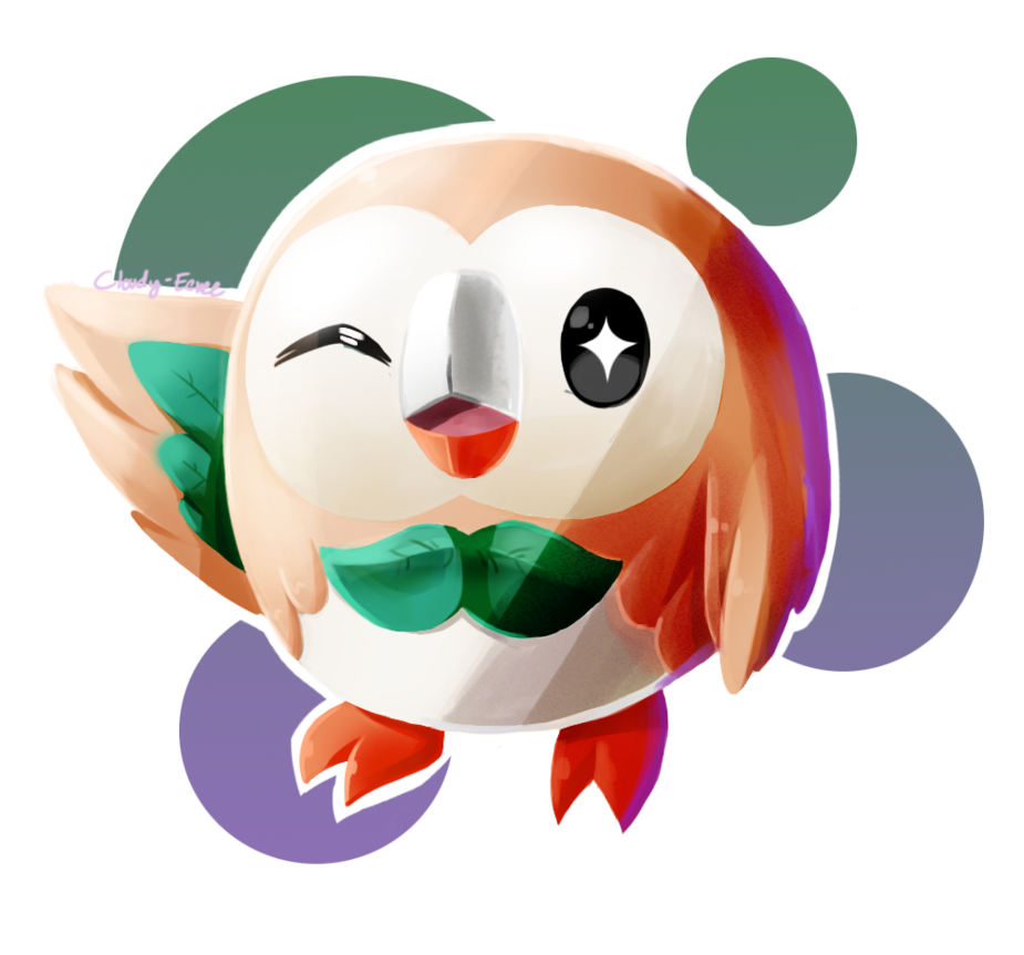Cloudy clipart cloudy moon. Rowlet owlet by eevee