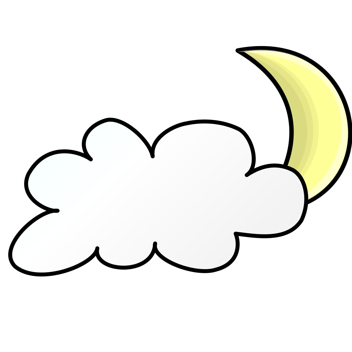 Cloudy clipart cold. Night partly free collection