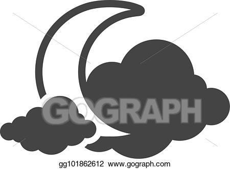 Cloudy clipart cold. Vector art bw icons