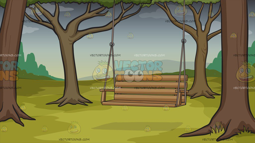 Cloudy clipart gloomy day. A swing on background
