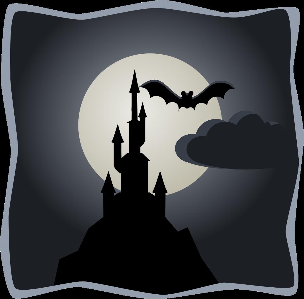 Cloudy clipart halloween. File spooky castle in
