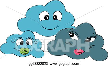 Cloudy clipart kind weather. Vector stock illustration
