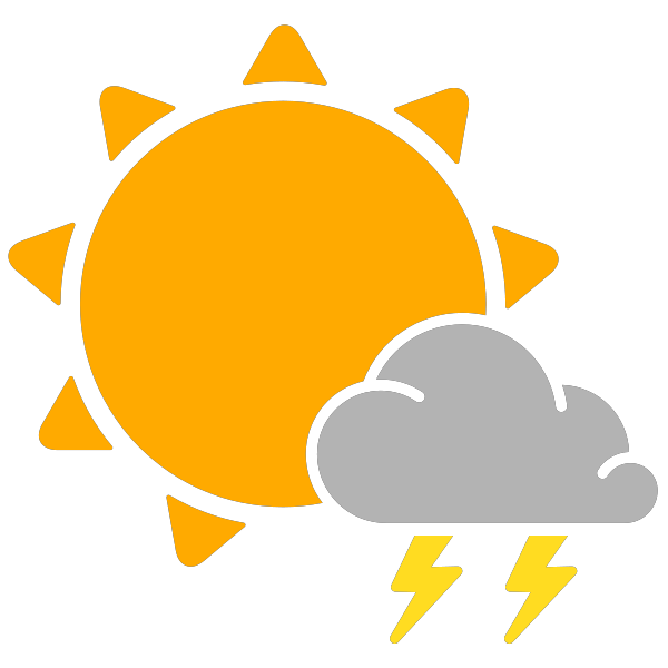 simple weather icons scattered thunderstorms