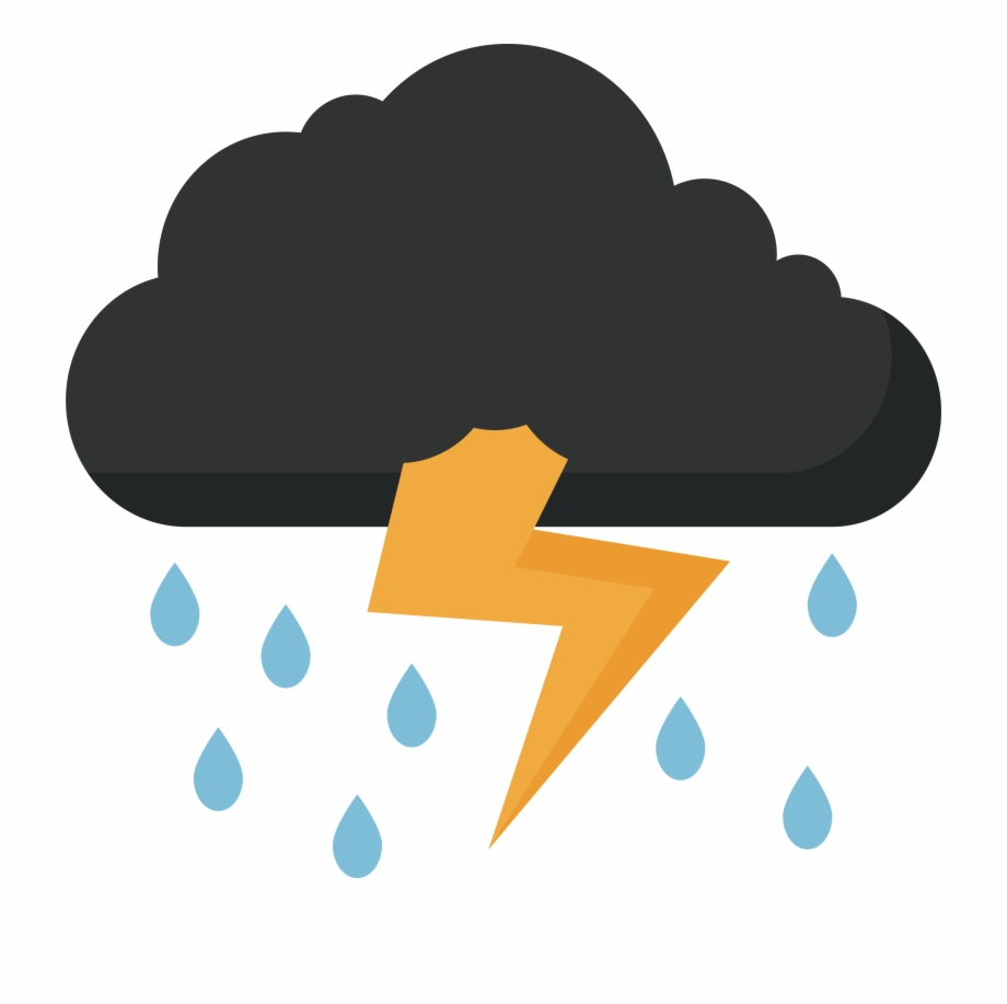 Cloudy clipart lightning cloud. Storm thunder and