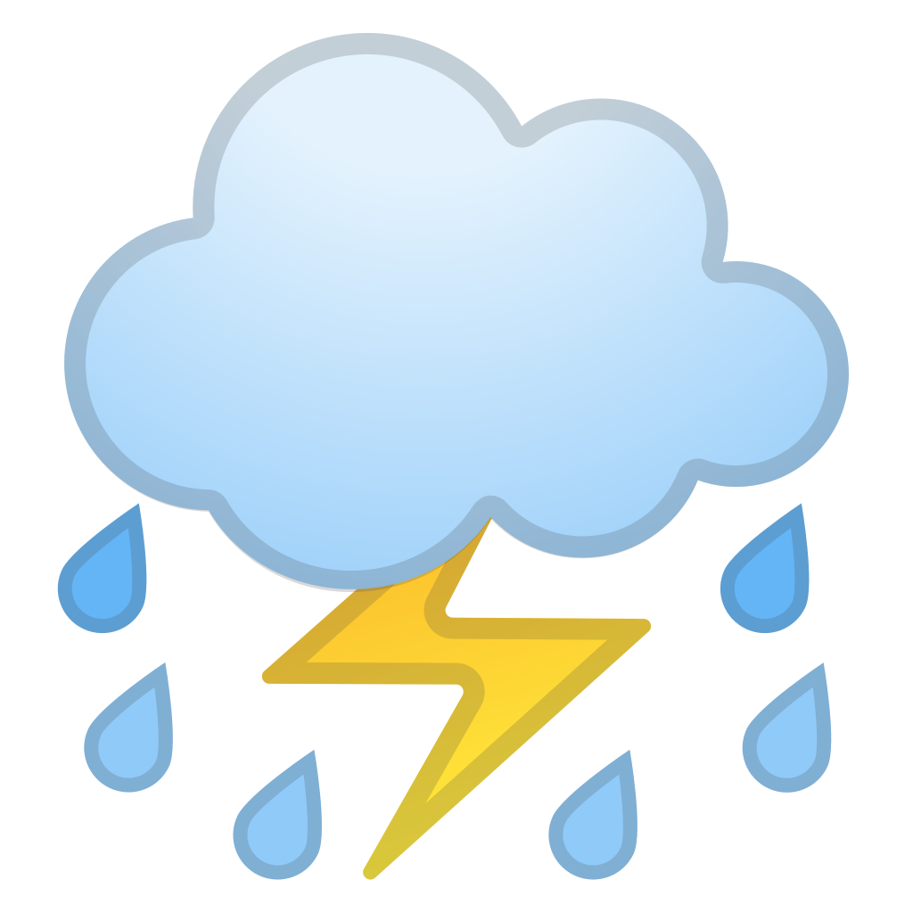 Lightning clipart emoji. Cloud with and rain