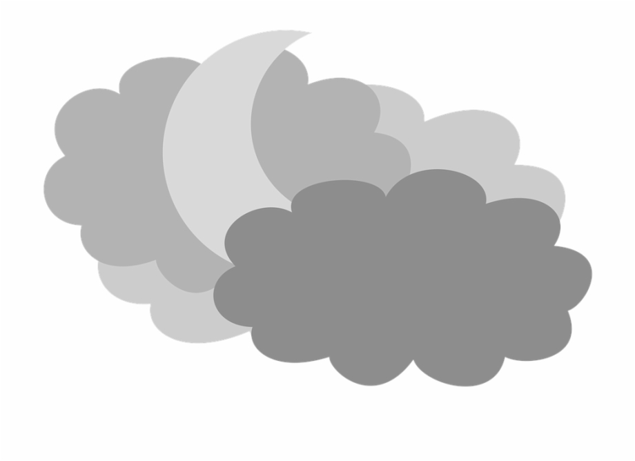 Cloudy clipart long cloud. Moon in the clouds